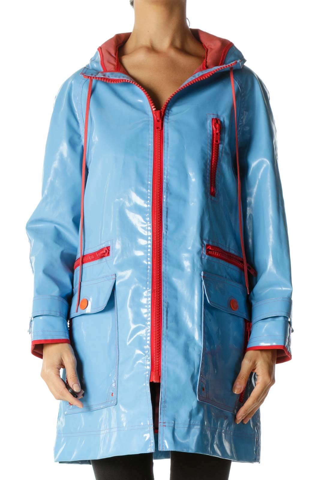Blue Orange-Red Multi-Zippers Hooded Drawstring Weighted Rain Coat