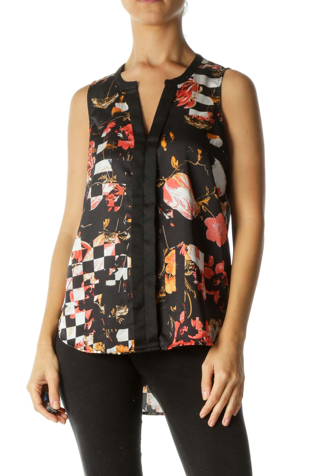 Black Orange Gray Floral-Print Shift Tank Top