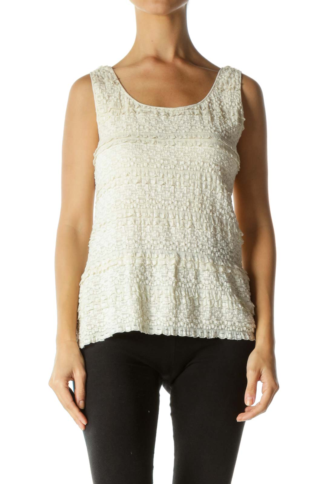 Cream Round Neck Lace Stretch Tank Top
