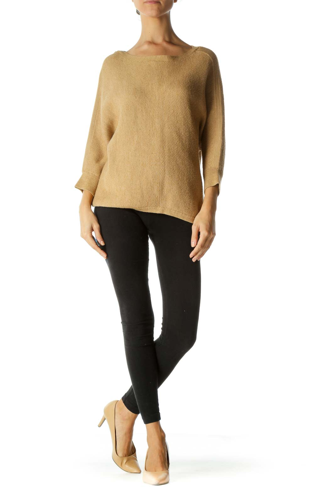 Tan Beige Soft-Touch Boat Neck Bat Sleeve Knit Sweater
