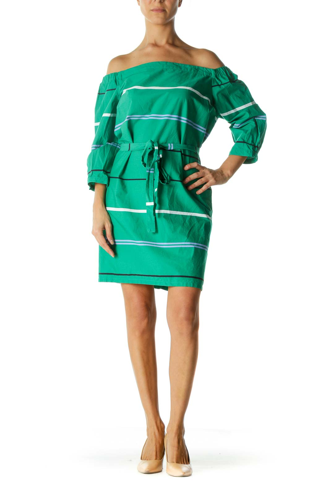 Green Striped Off-Shoulder Shift Dress