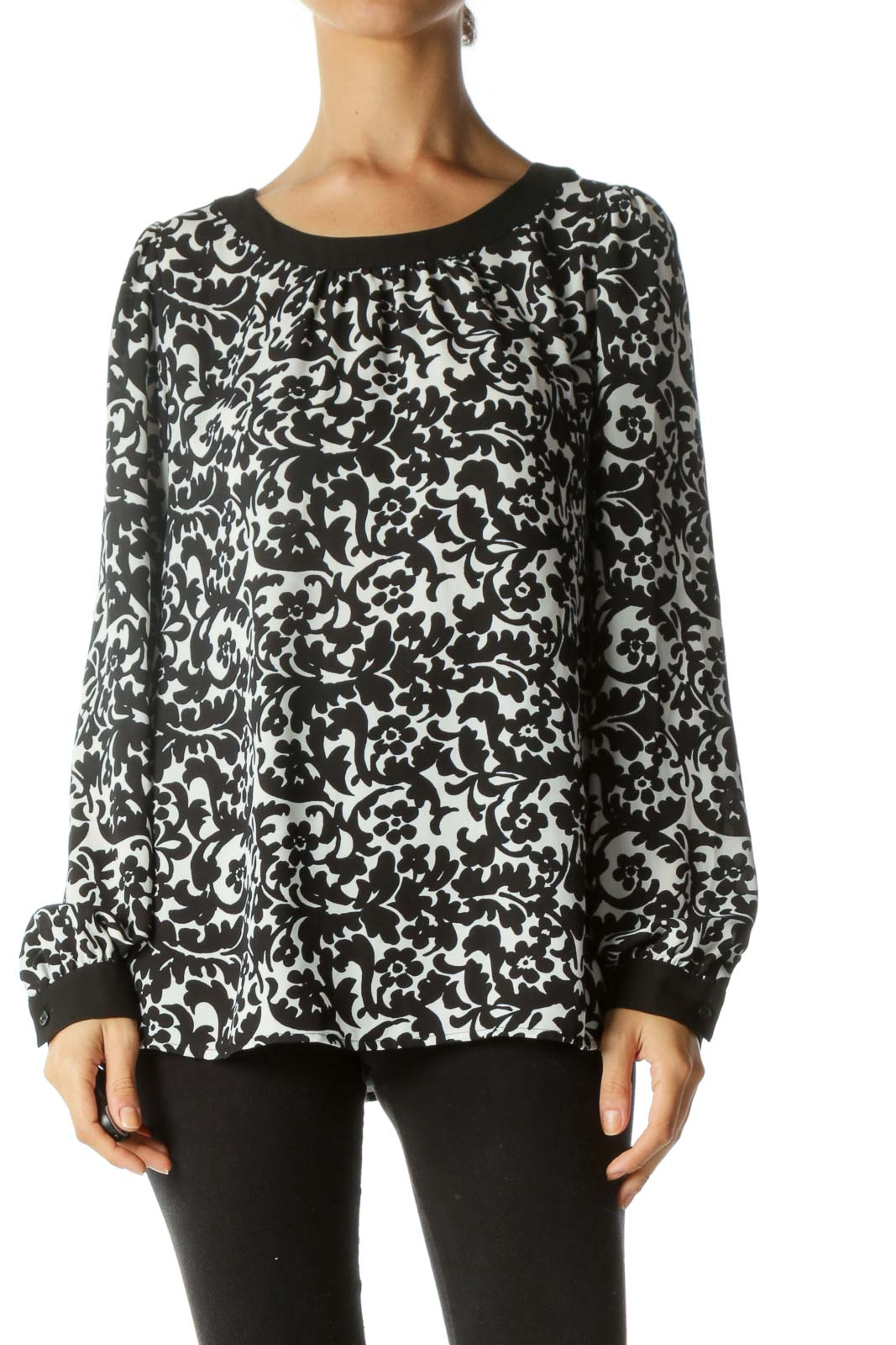 Black White Floral Print Back-Bow Detail Long Sleeve Blouse