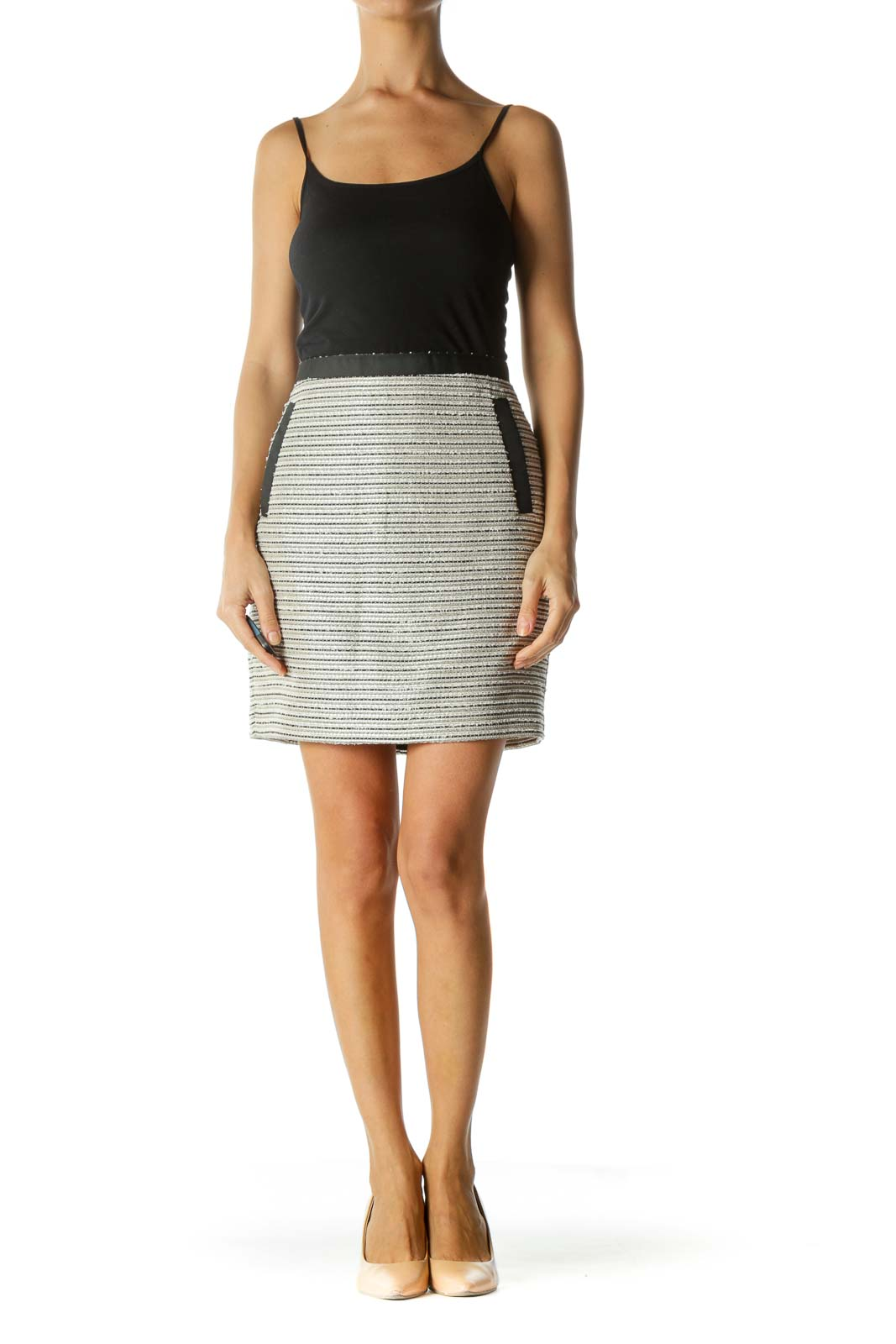 Beige and Black Jacquard Pencil Skirt