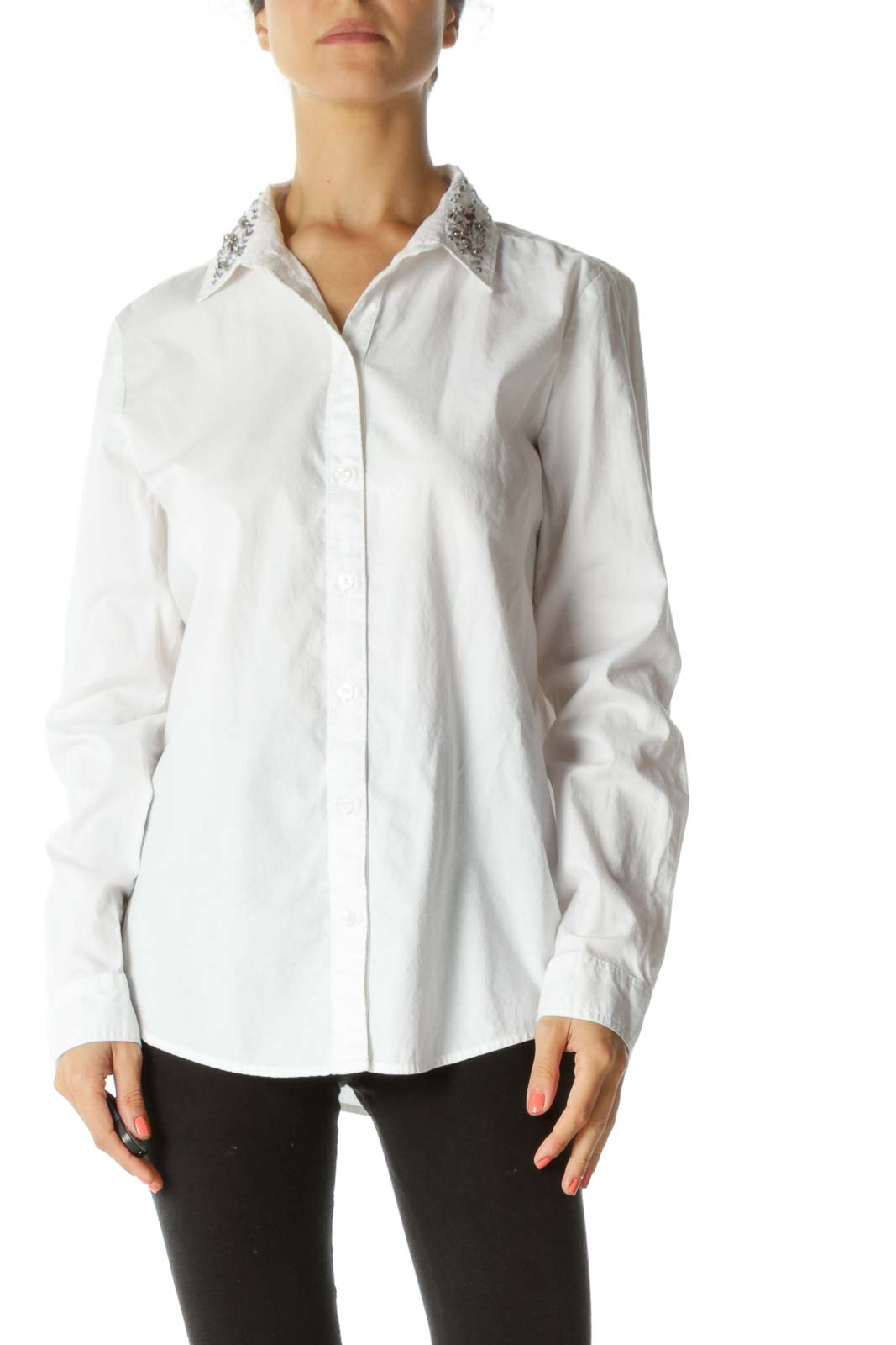 White 100% Cotton Bejeweled Collar Buttoned Stretch Shirt