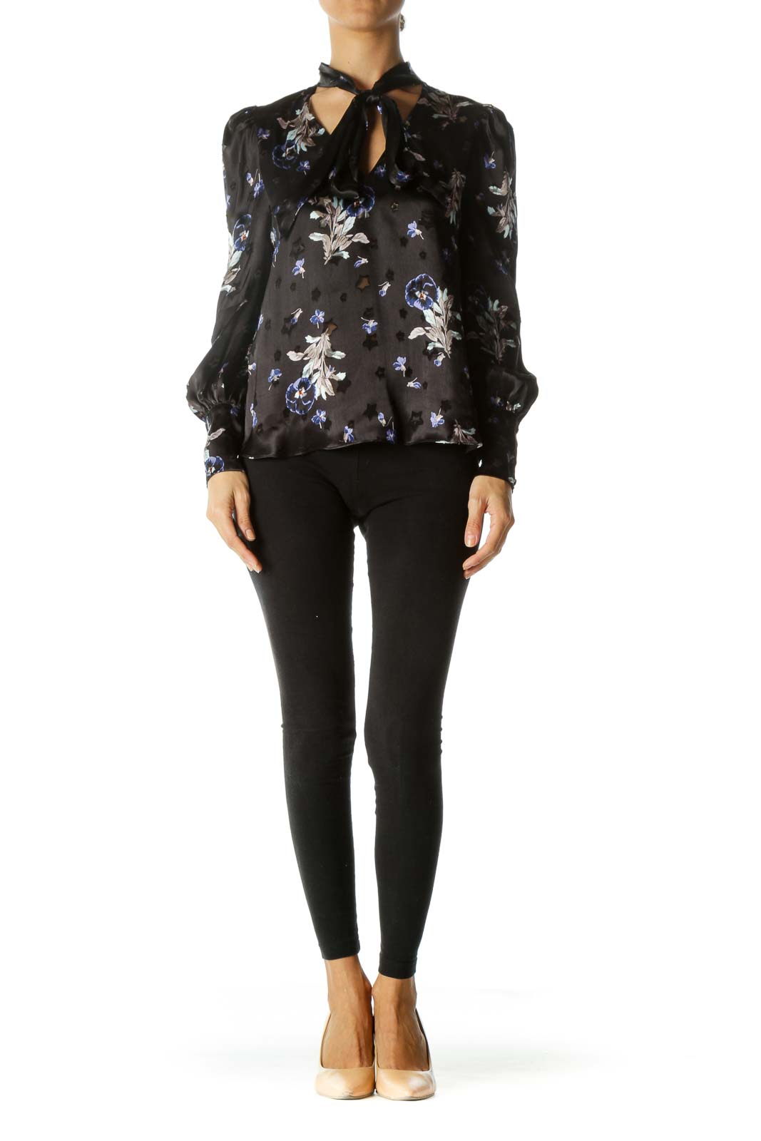 Black Blue Purple Print Textured-See-Through-Stars Appliques Tulle-Shoulder-Structuring Blouse