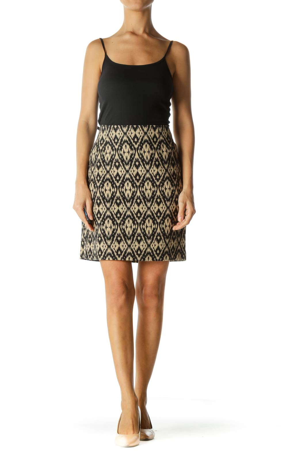 Beige and Black Patterned Pencil Skirt
