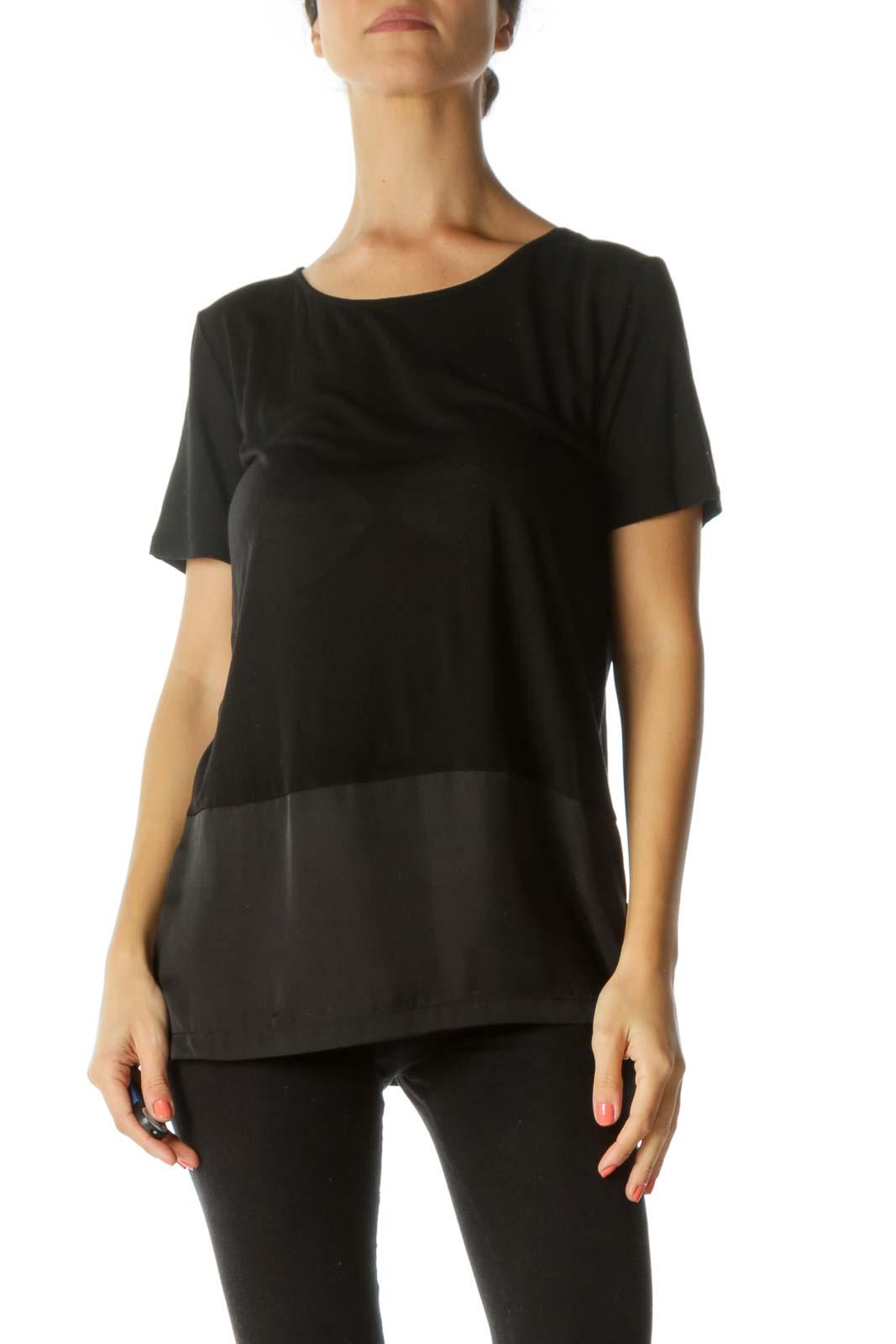 Black Round Neck Mixed-Media Stretch Short-Sleeve Top