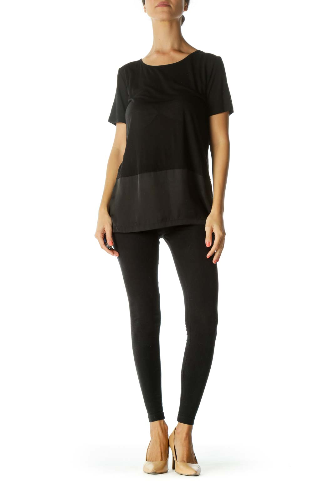 Black Round Neck Mixed-Media Stretch Short-Sleeve Top