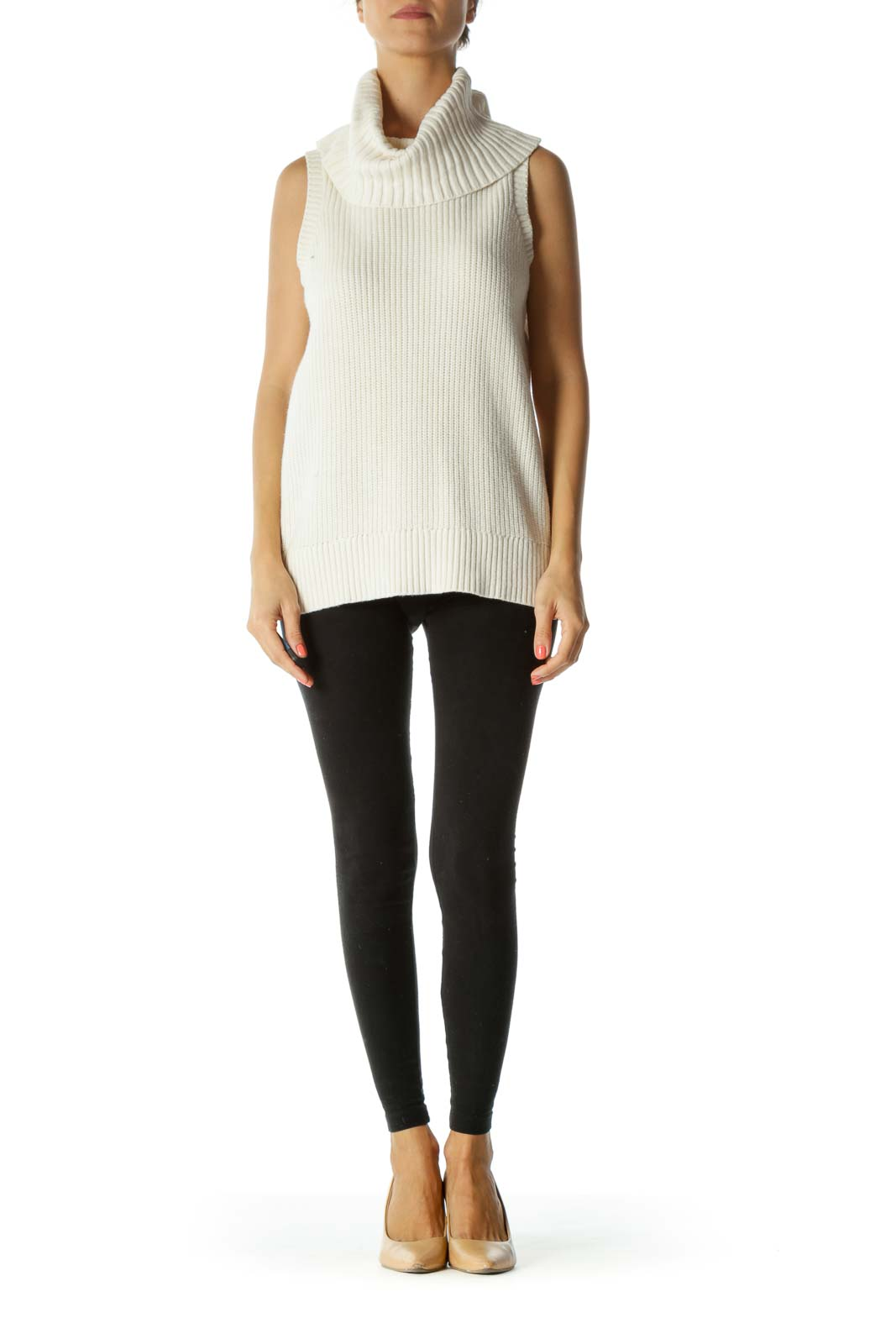 Cream Ribbed Turtle Neck Sleeveless Stretch Knit Top