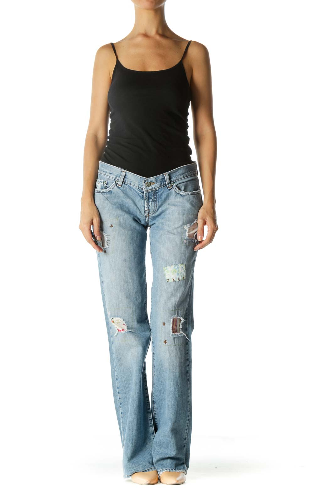 Blue Light Wash Jean with Floral Patchwork