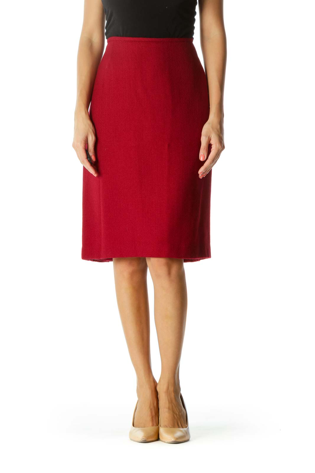 Dark Red Wool Blend Zippered Cinched-Waist Slitted Skirt