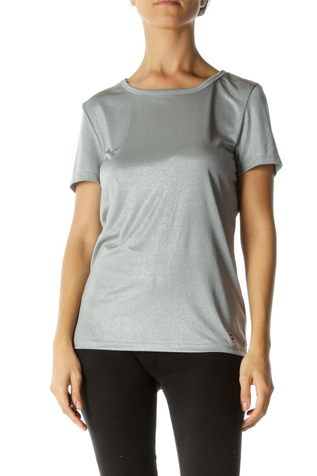 Silver Round Neck Short Sleeve Stretch Draped T-Shirt