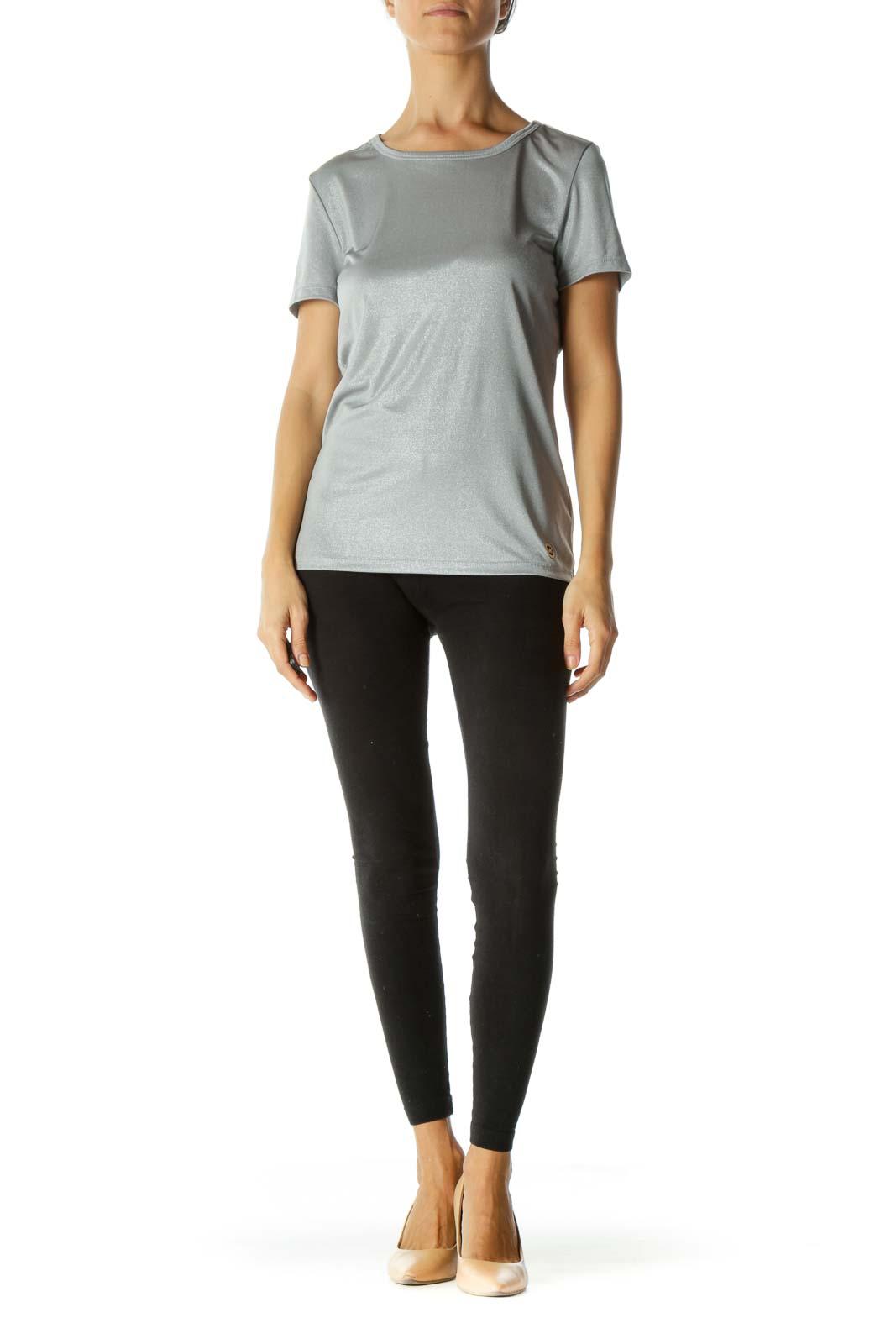 Silver Round Neck Short Sleeve Stretch Draped T-Shirt
