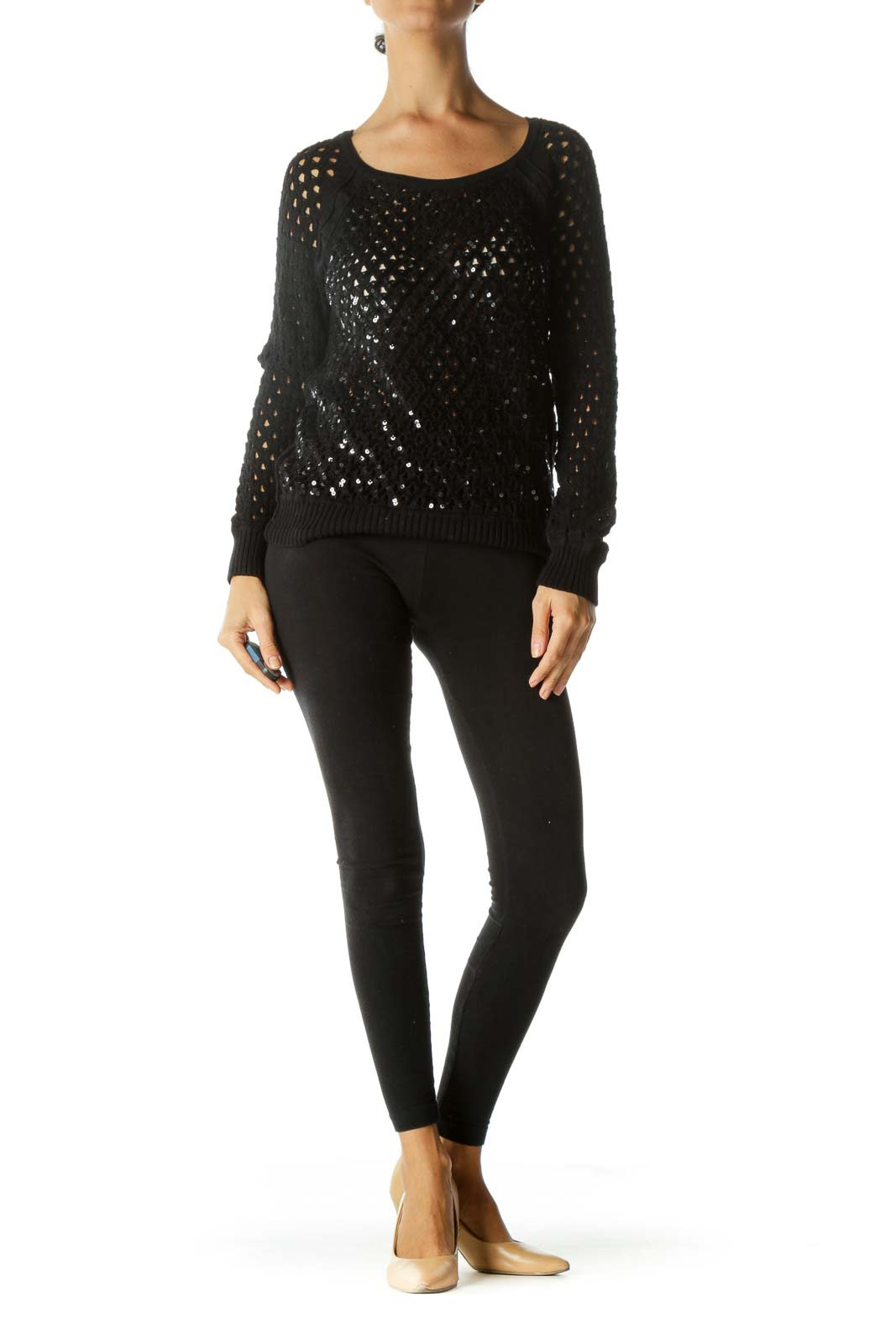 Black Sequined Knit See-Through Petite Soft Sweater