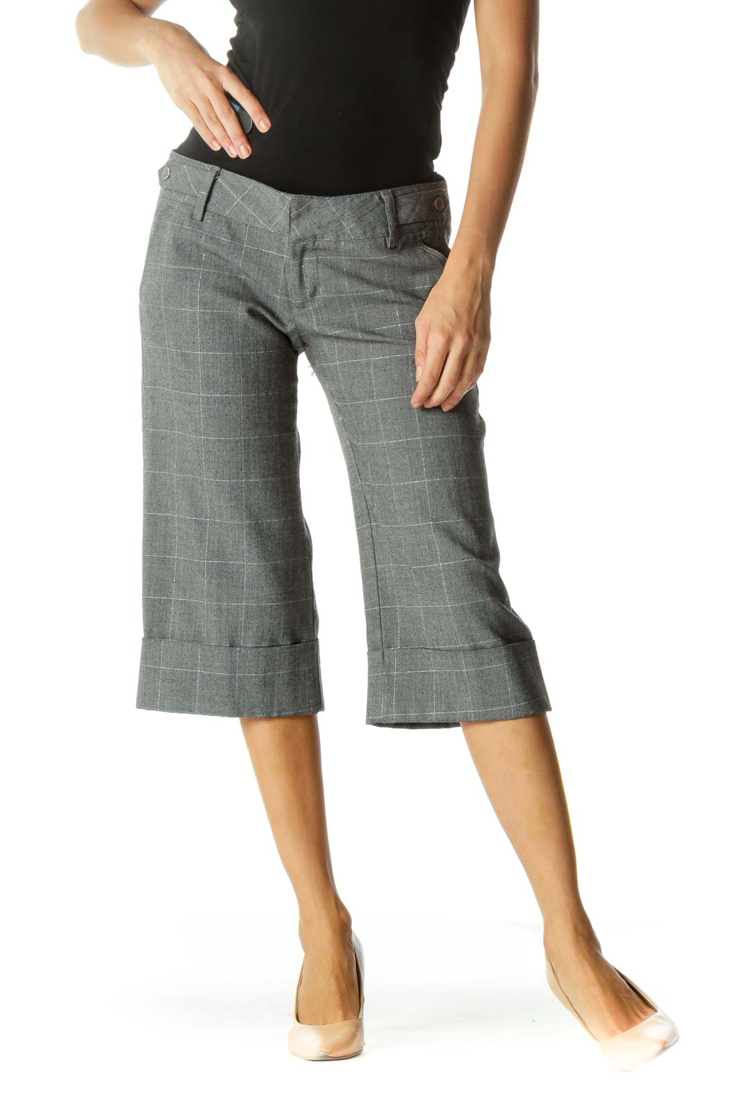 Brown Glen Check Cropped Pant