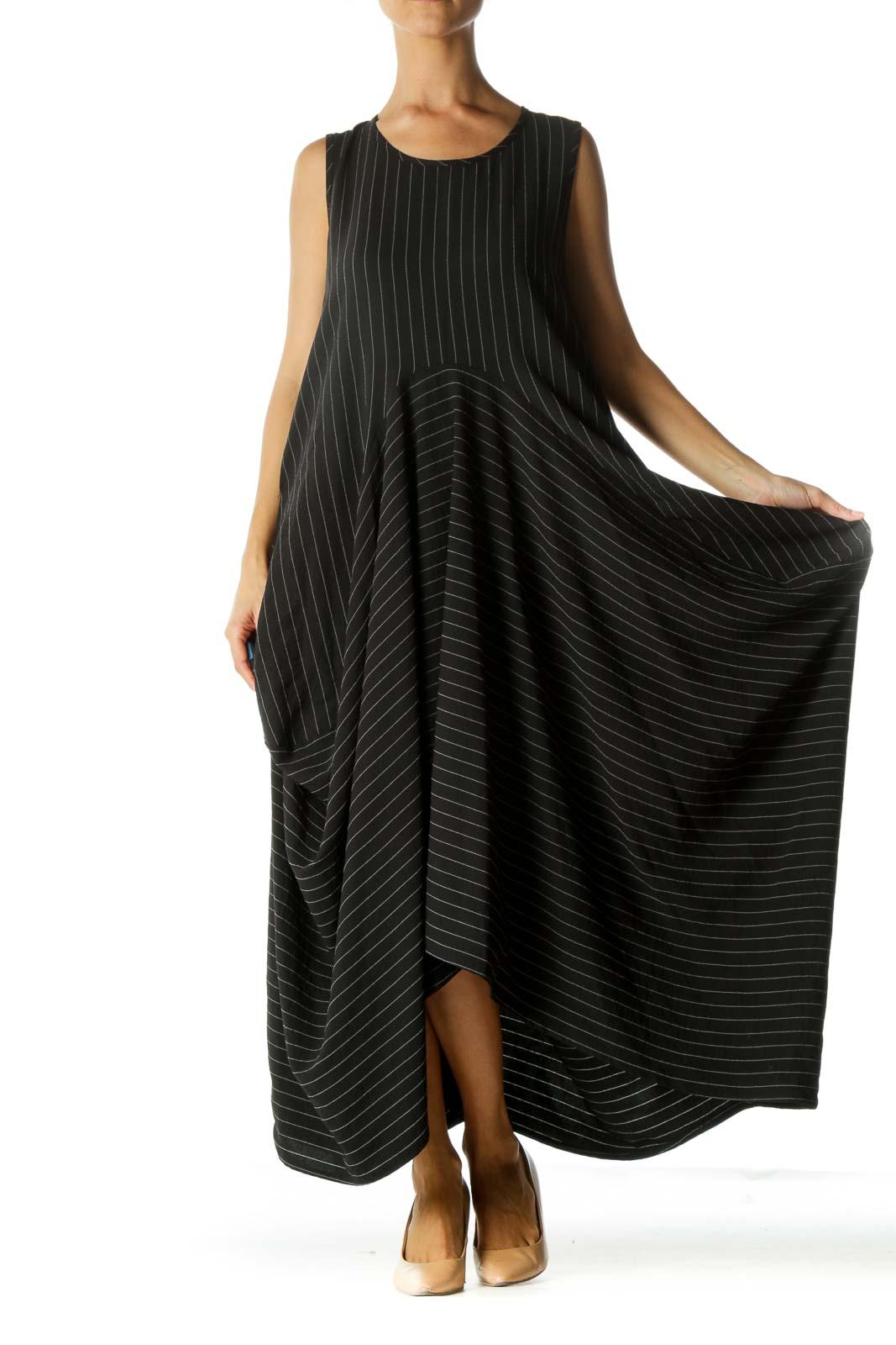 Black Striped Asymmetric Dress