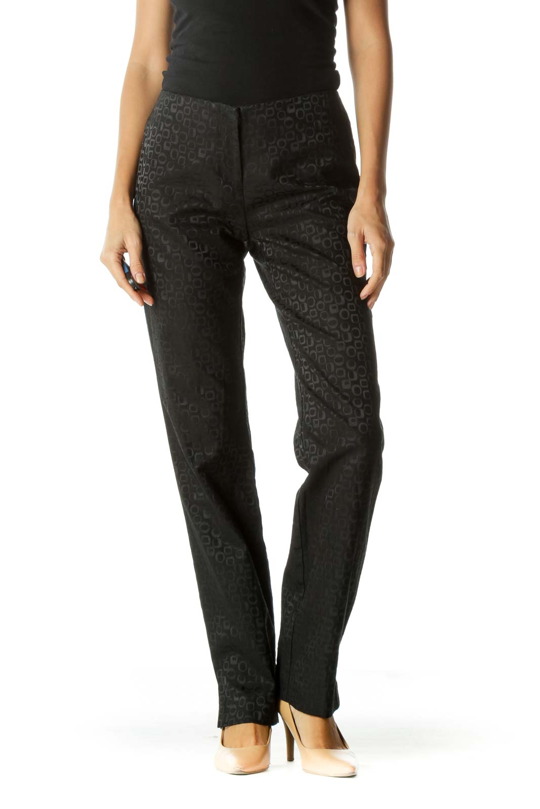 Black Jacquard Textured Print Pants