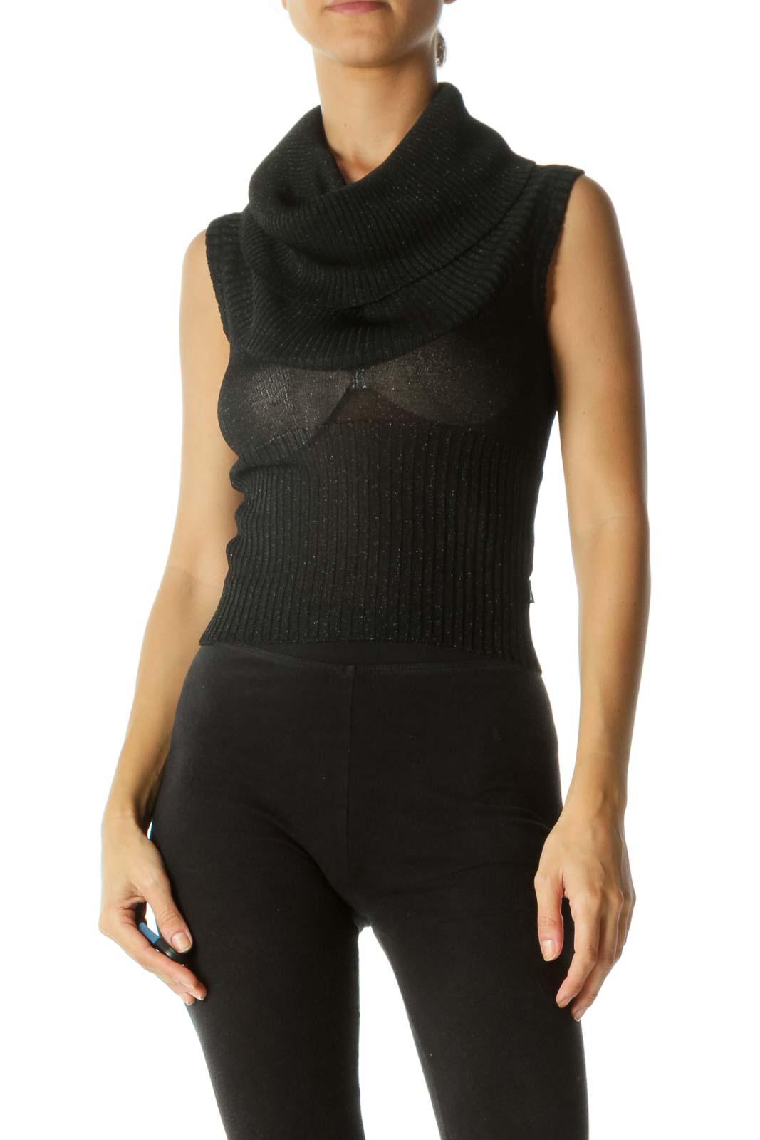 Black Metallic Thread Cowl Neck Stretch Crop Knit Top