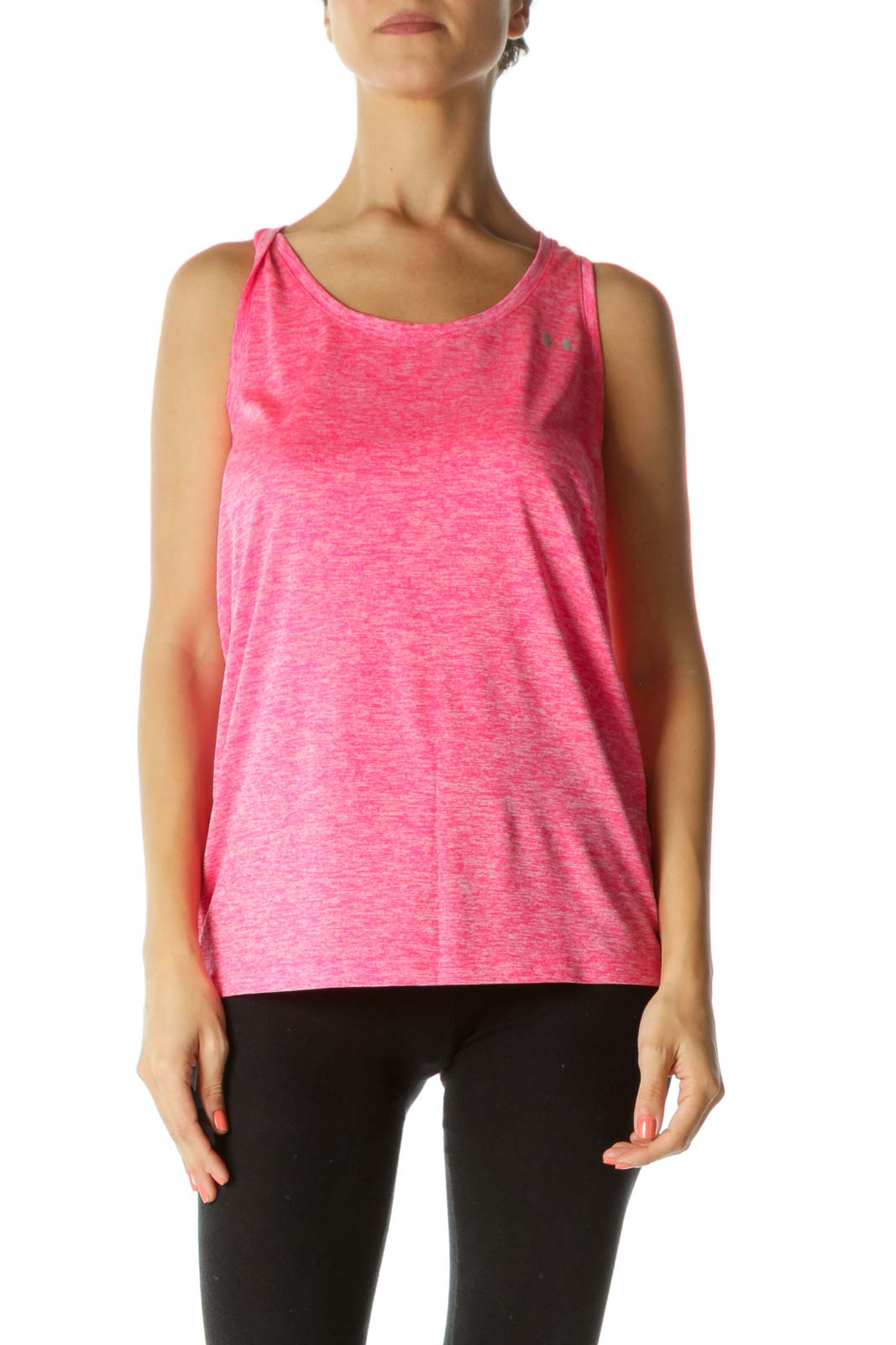 Neon Pink White Mottled Print Sports Tank Top