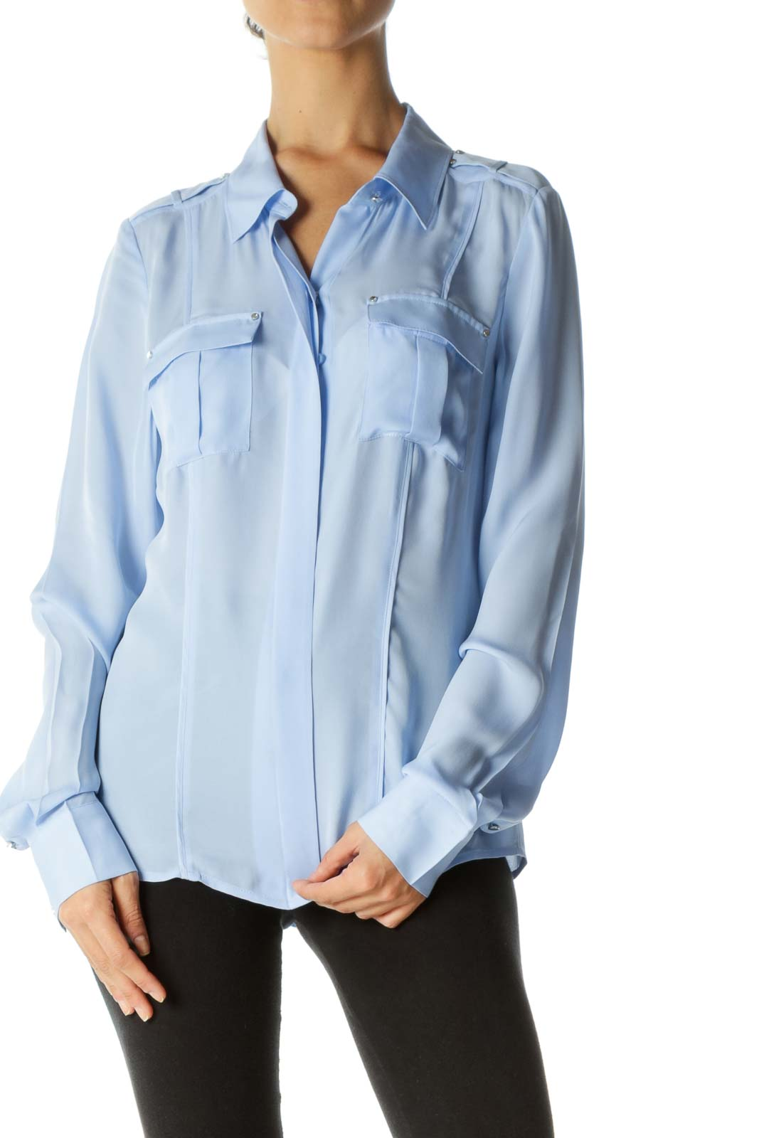 Light Blue 100% Silk Buttoned Small Hardware Details Loose Shirt