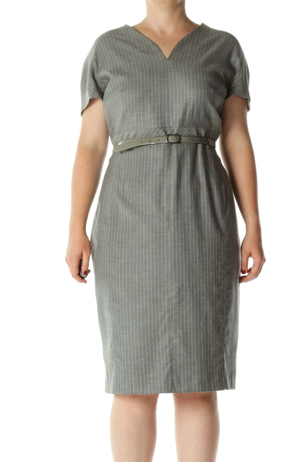 Gray Fleece Wool Blend V-Neck Striped Belted Stretc Dress