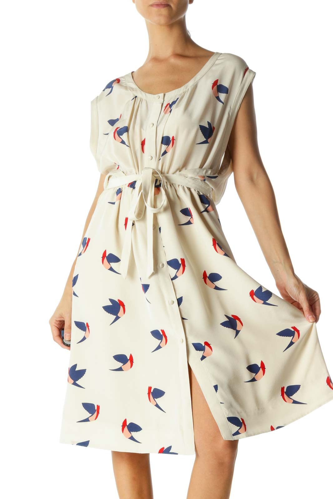 Cream Silk Birds Button-Down Midi Dress