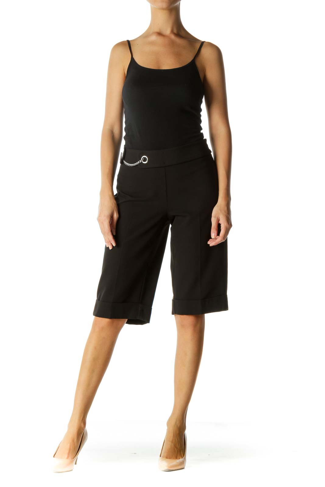 Black Cropped Pant with Chain Detail