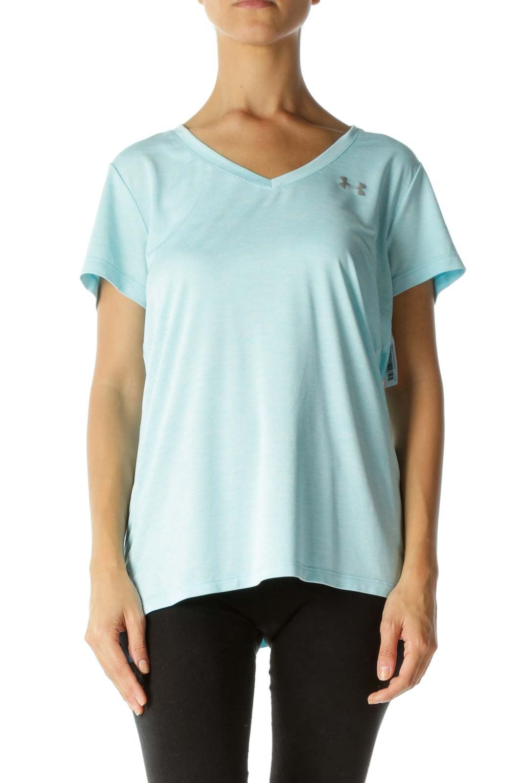 Light Blue V-Neck Mottled Soft Light Sports T-Shirt