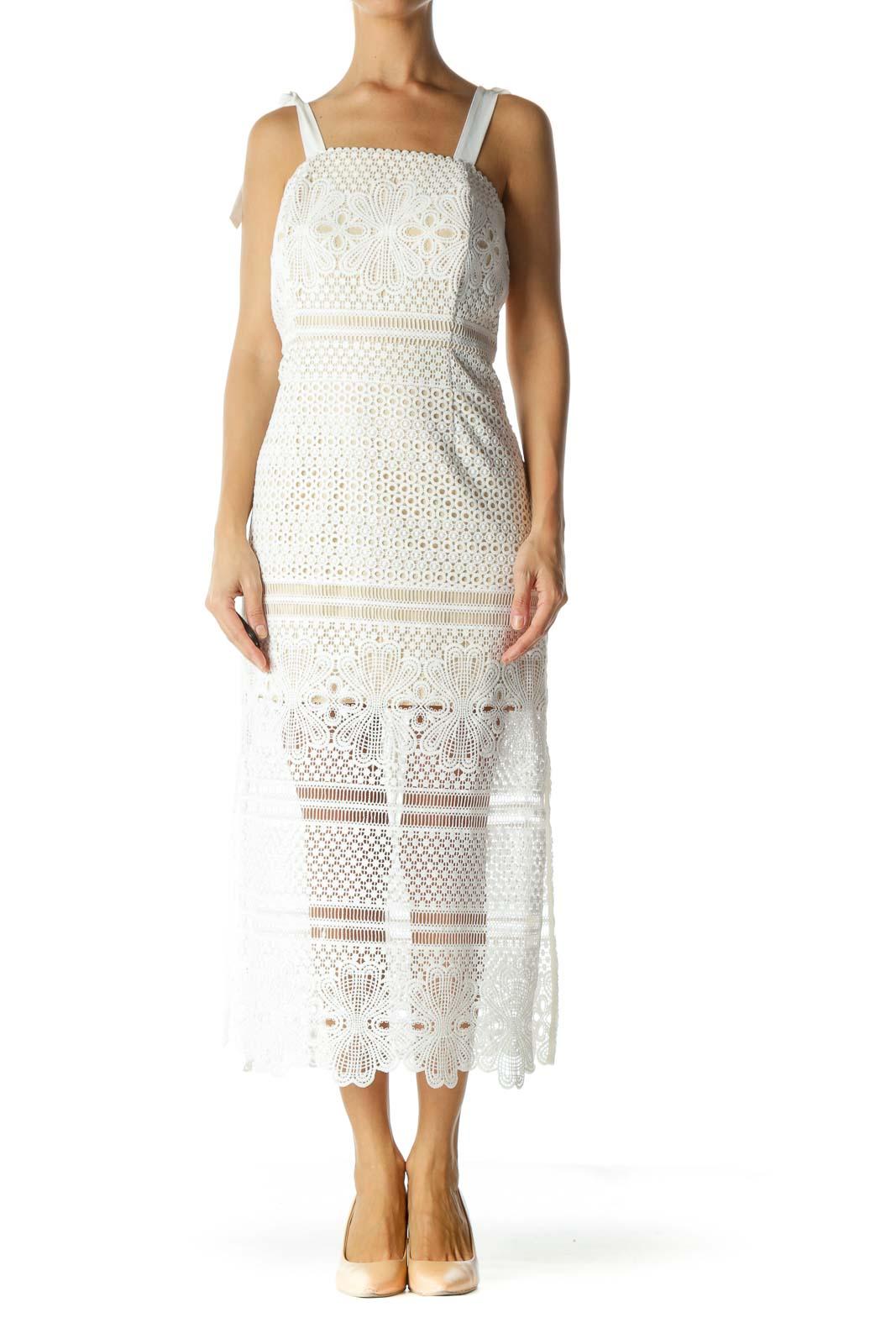 White Crocheted Tie Straps Dress