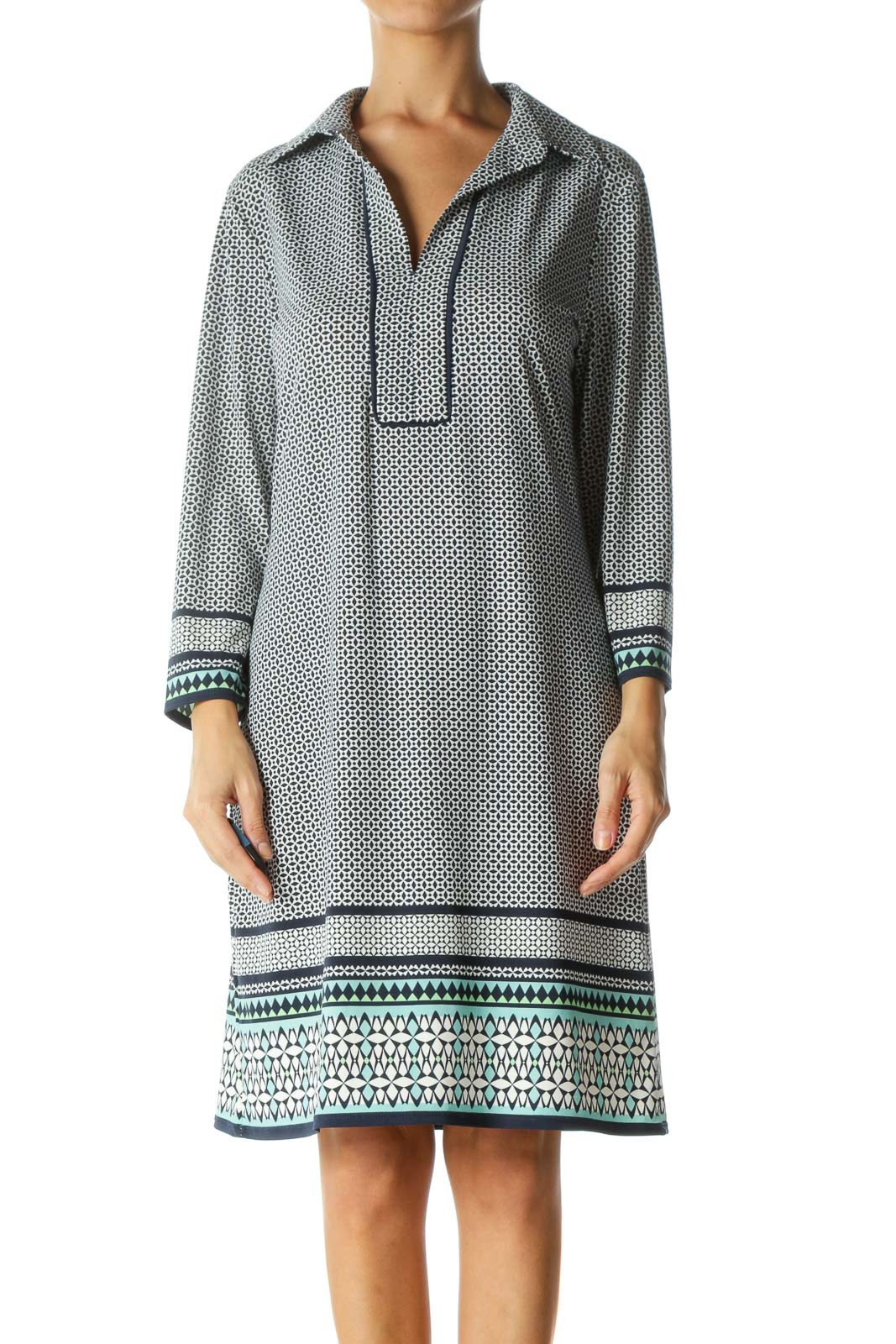 White and Navy Geometric Patterned Shift Dress