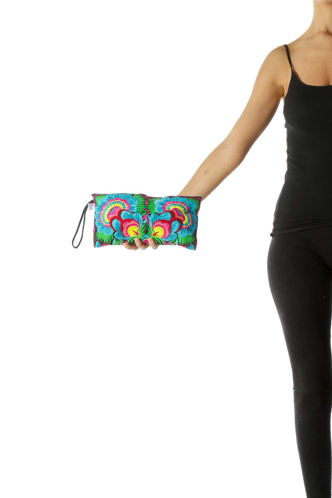Black Multicolor Emroidered Floral Print Clutch
