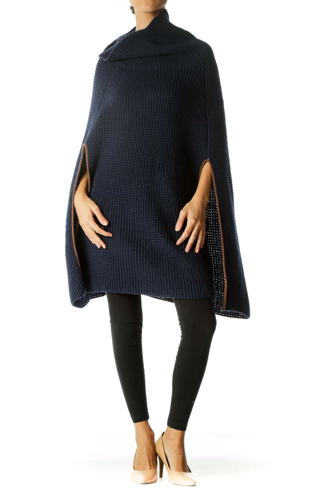 Navy Blue Brown Turtle Neck Knit Open Poncho