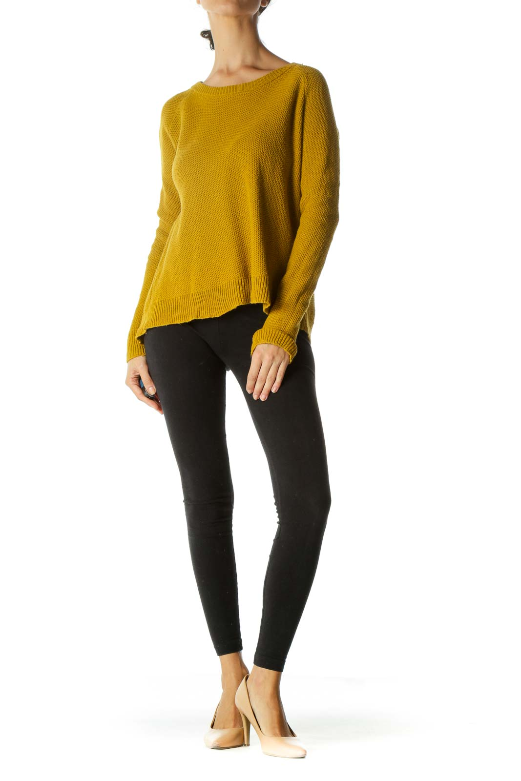 Mustard Yellow Round Neck Knit Sweater