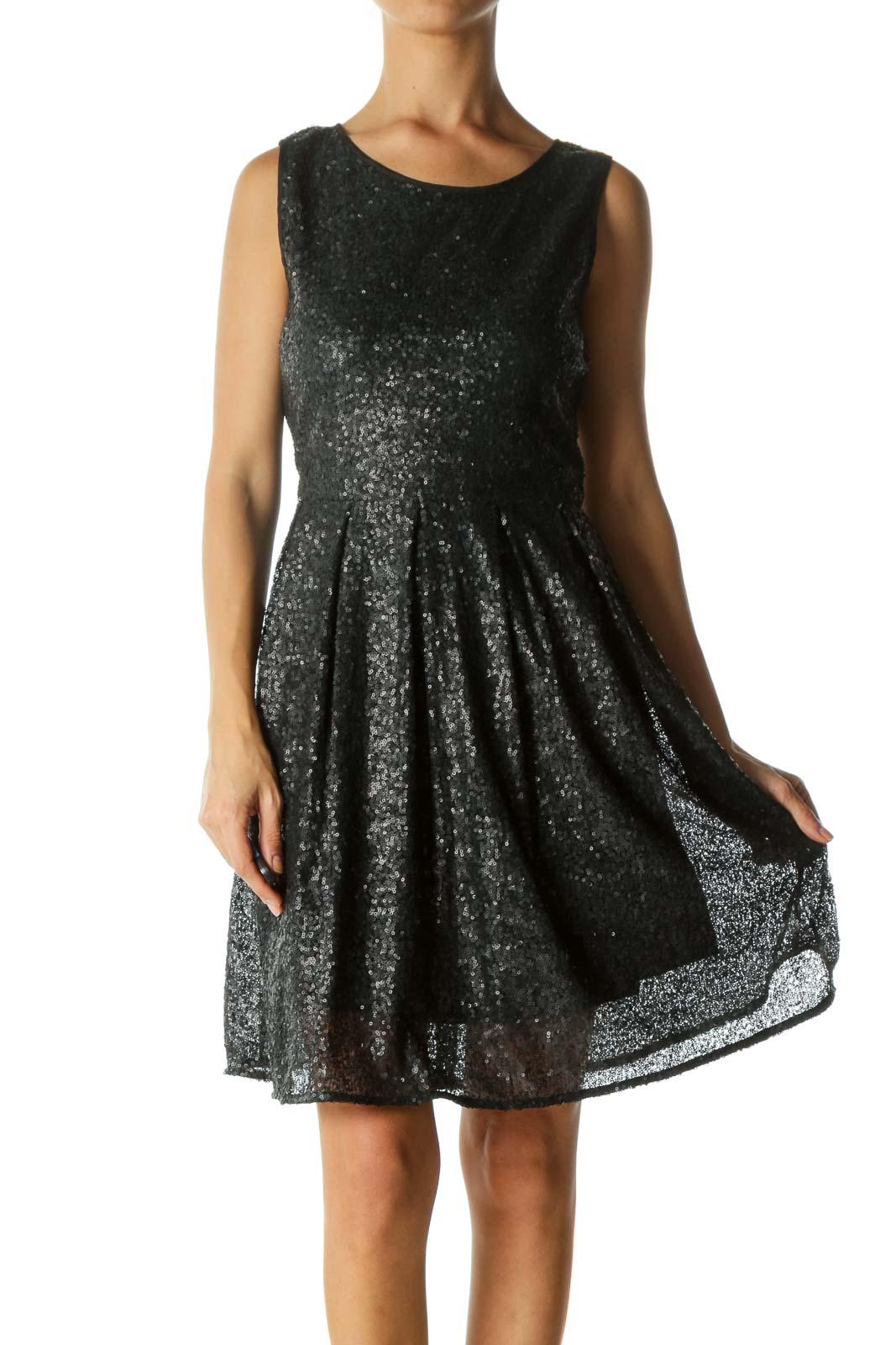 Black Matt Sequined Pleated Dress