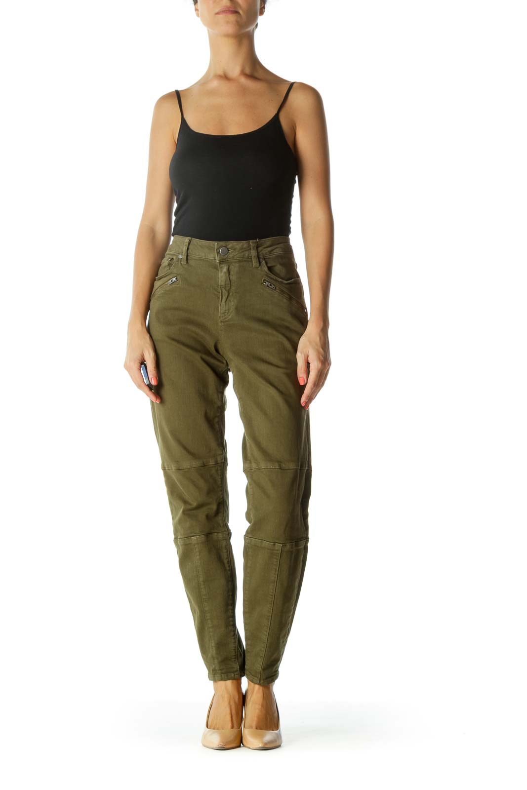 Olive Green Zipper-Details Stretch Tapered Pants