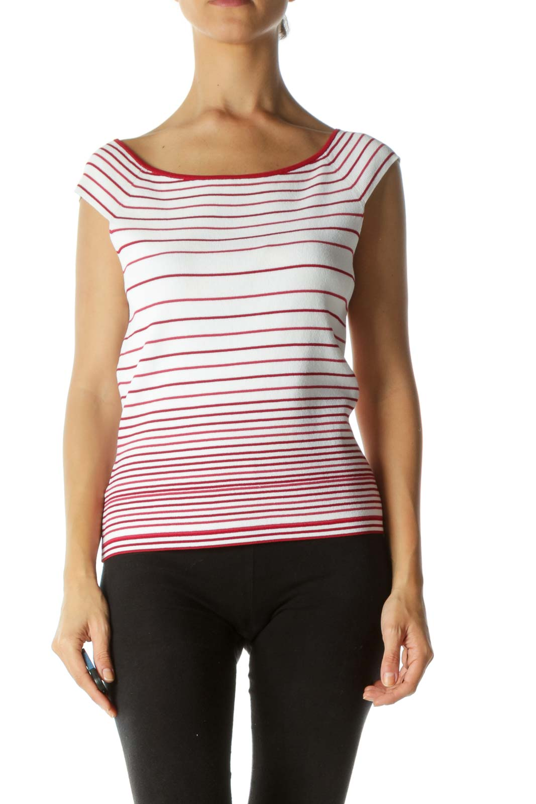 Red White Knitted Off-Shoulder Striped Stretch Top