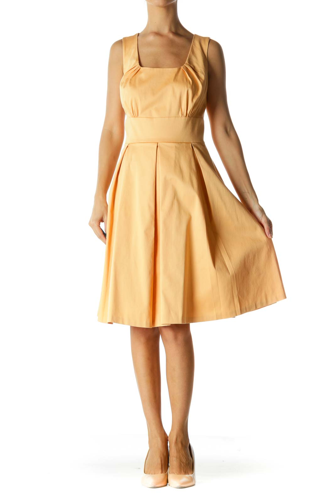 Light Orange Round Neck Scrunched Cinched Waist Dress