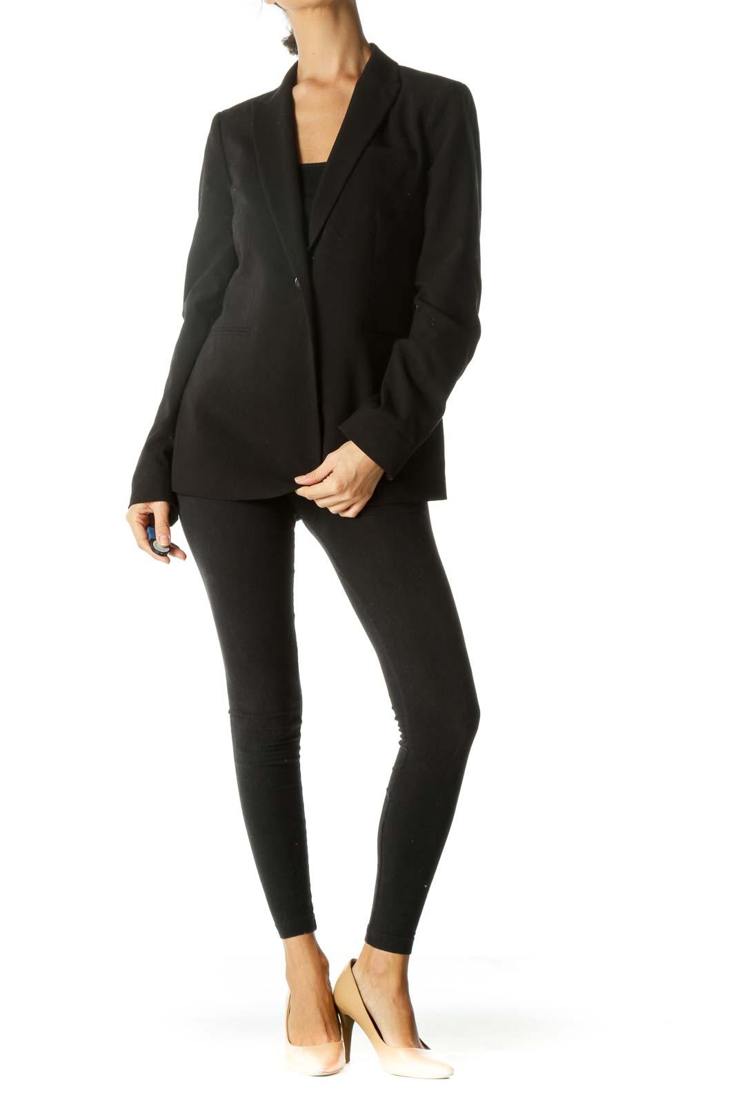 Black V-Neck Padded Shoulders Faux-Pockets Blazer