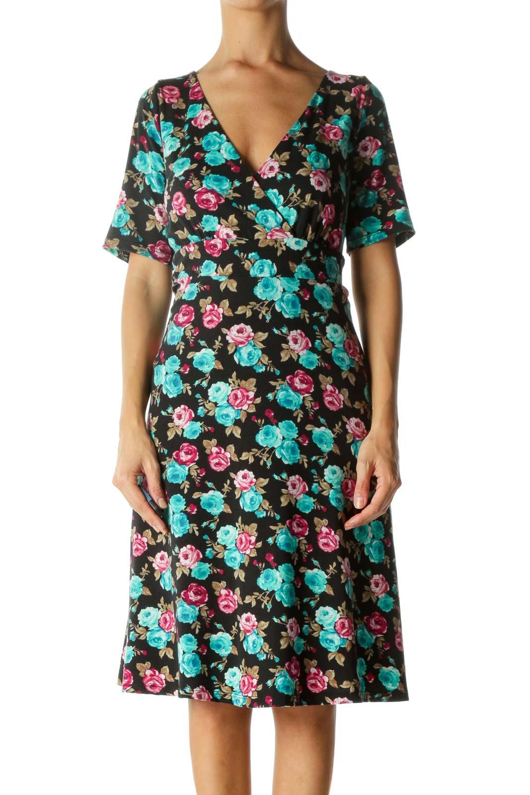 Black Floral Day Dress