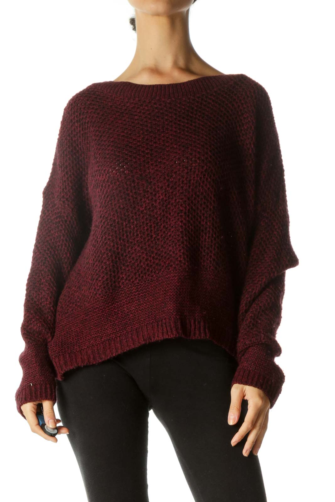 Burgundy Black Back-Bows Detail Oversize Sweater
