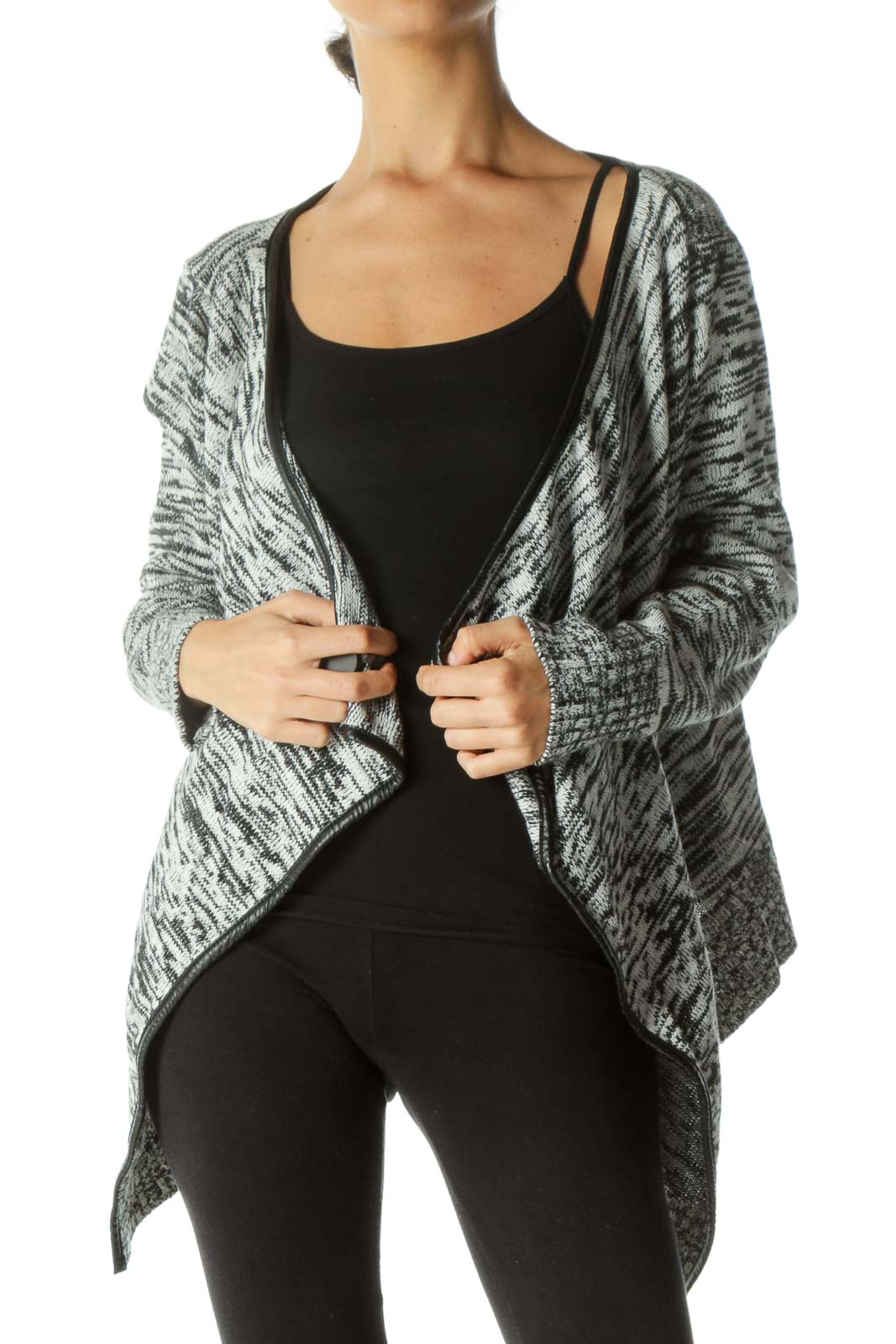 Black White Piping Open Waterfall-Collar Knit Jacket