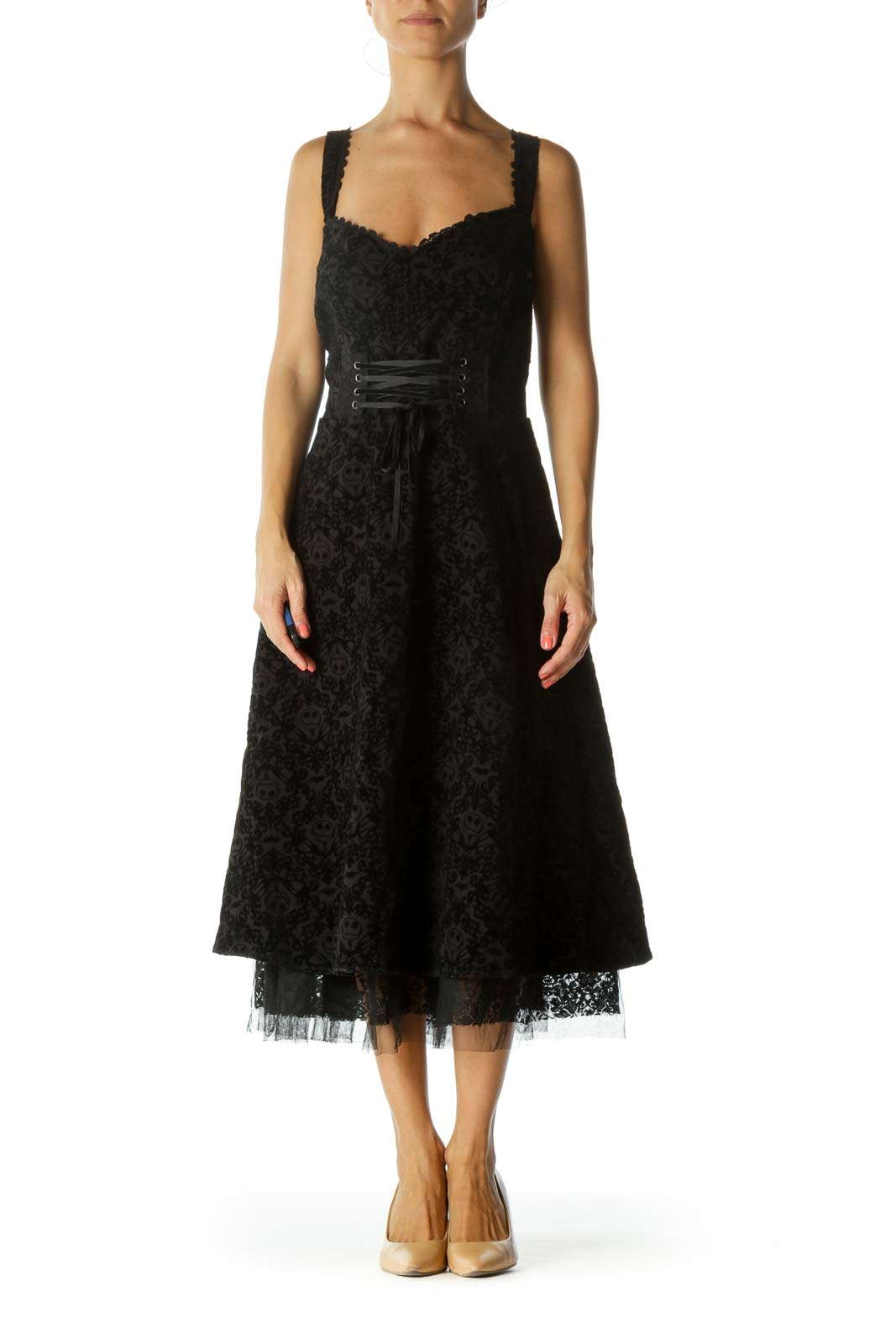 Black Movie Character Velvet Jacquard Front-Lace-Up Tulle Textured Stretch Dress