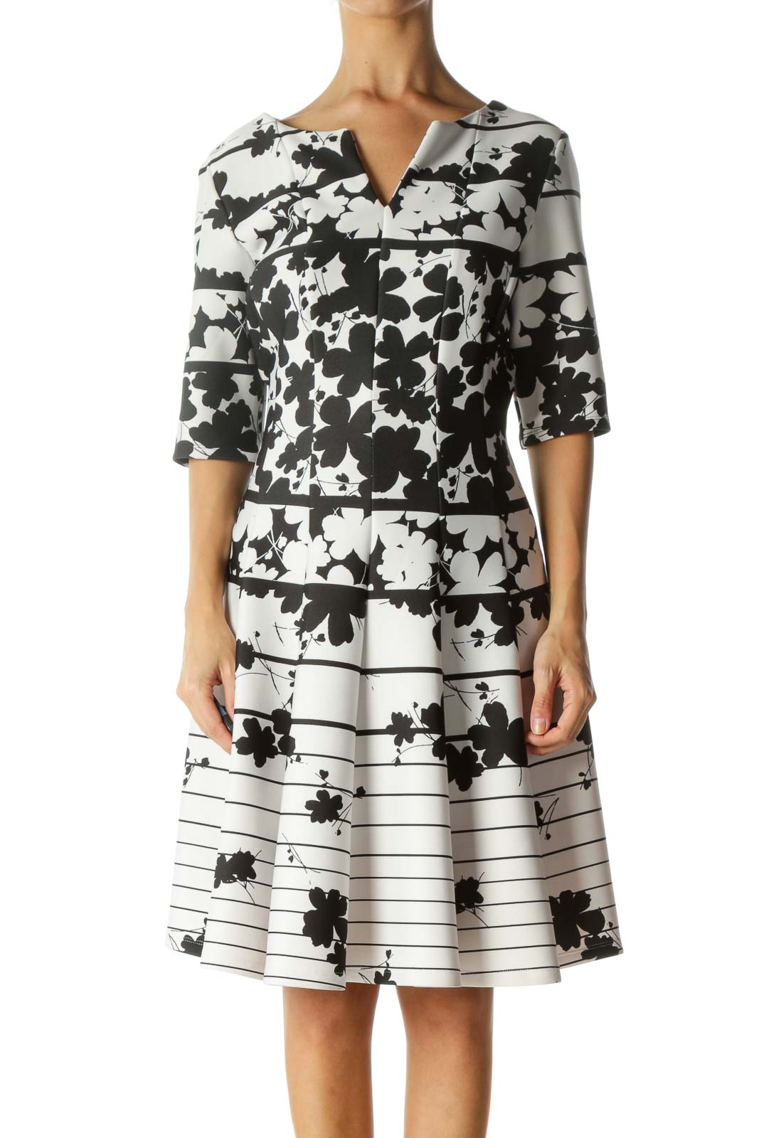 Black and White Floral Print Work Dress