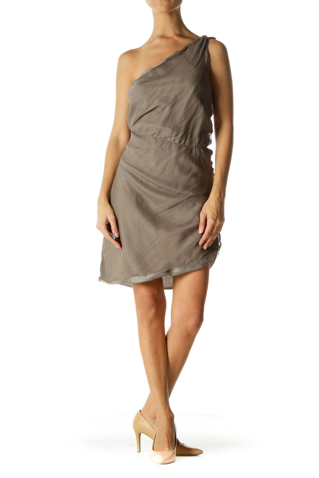Gray Silk Blend One-Blend Elastic-Cinched Waist Dress