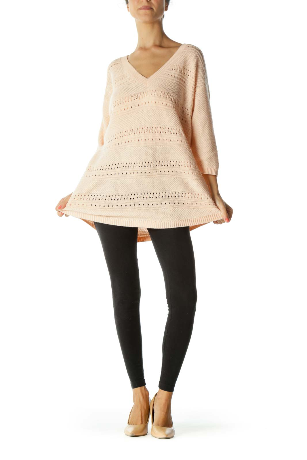 Light Peach V-Neck 3/4-Sleeve See-Through Knit Plus Size Sweater