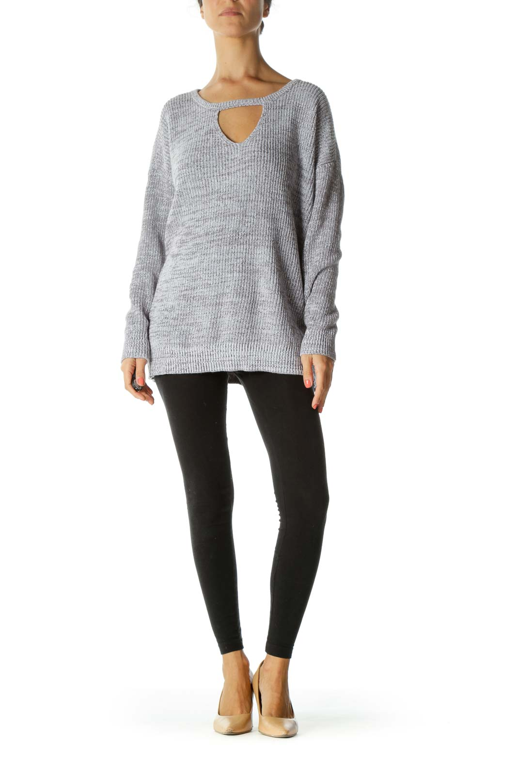 Gray White Keyhole Knit Plus Size Sweater