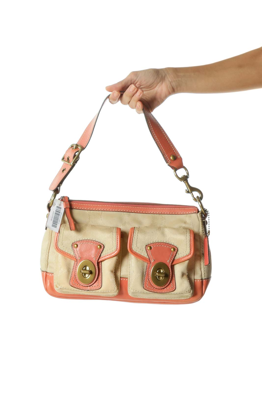Pink Cream Pocketed Shoulder Bag