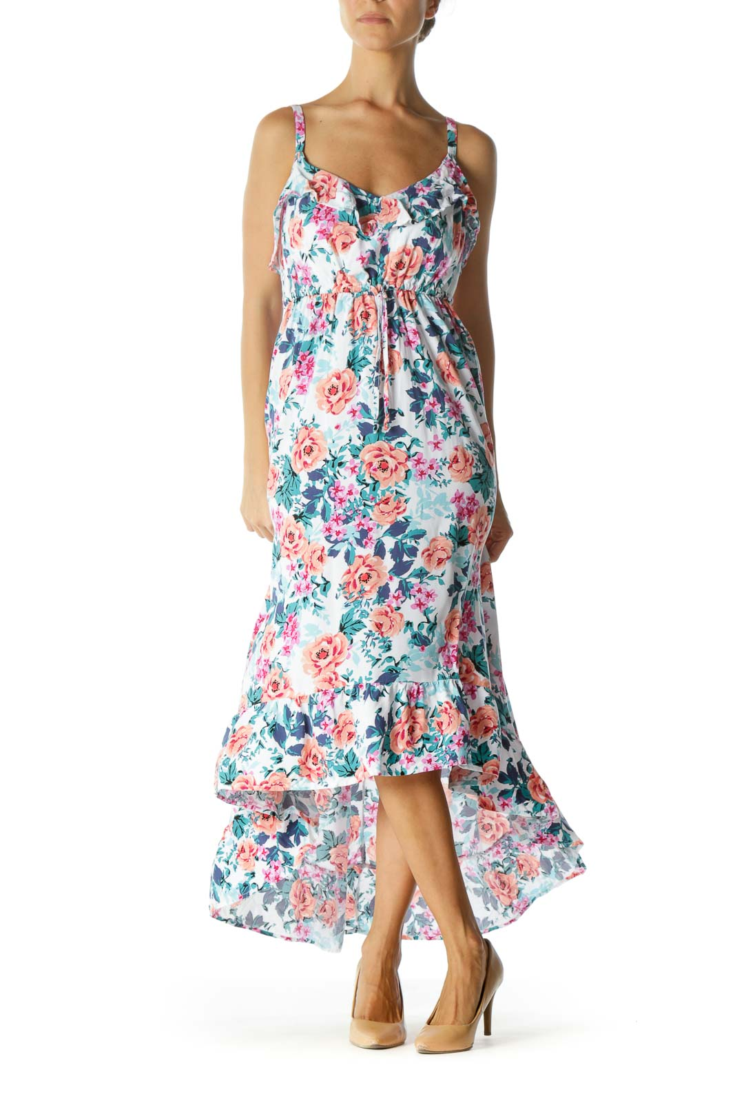 White Orange Blue Pink Floral-Print Ruffled Stretch High-Low Plus Size Dress