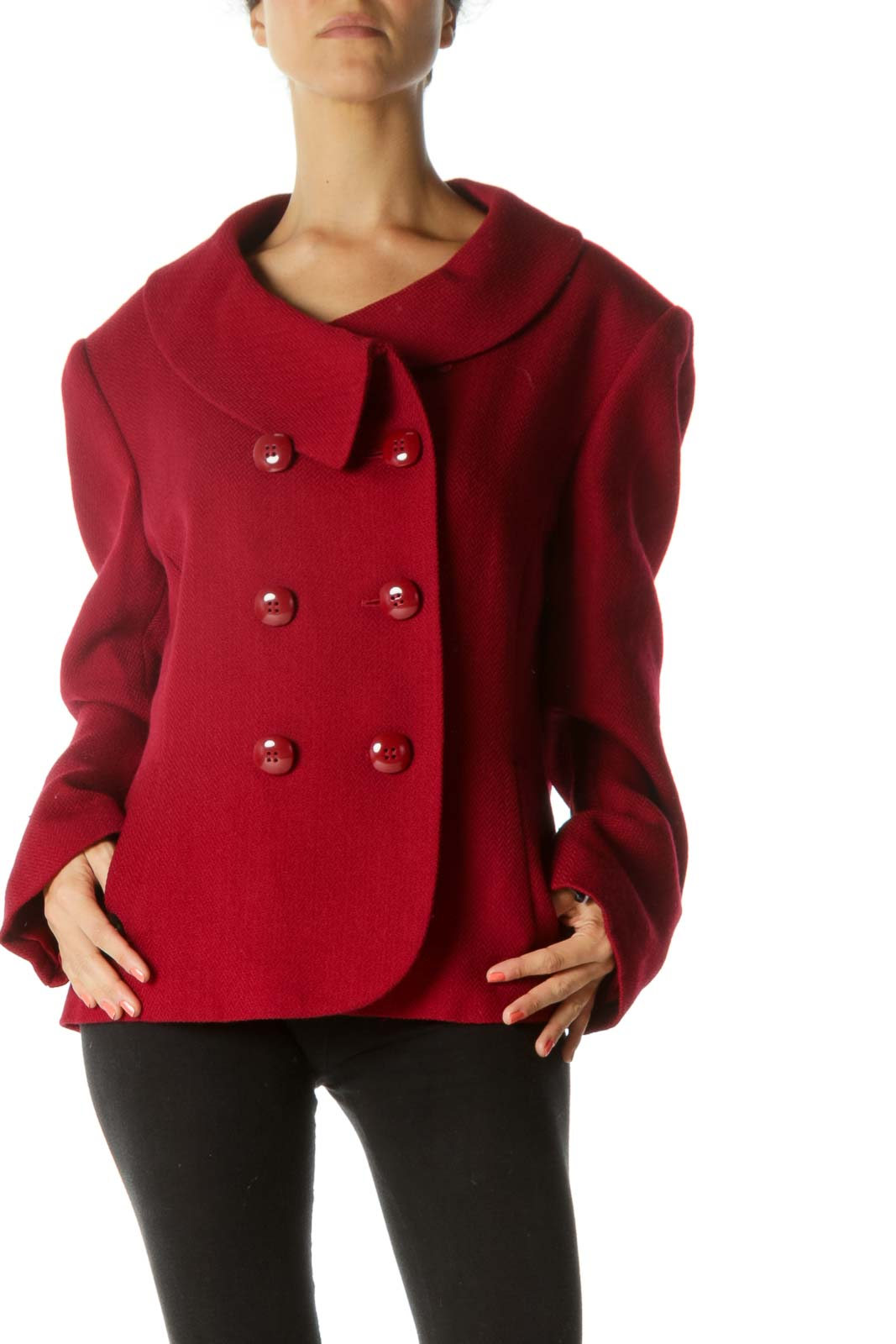 Dark Red Wool Blend Round-Collar Design Padded Shoulders Blazer