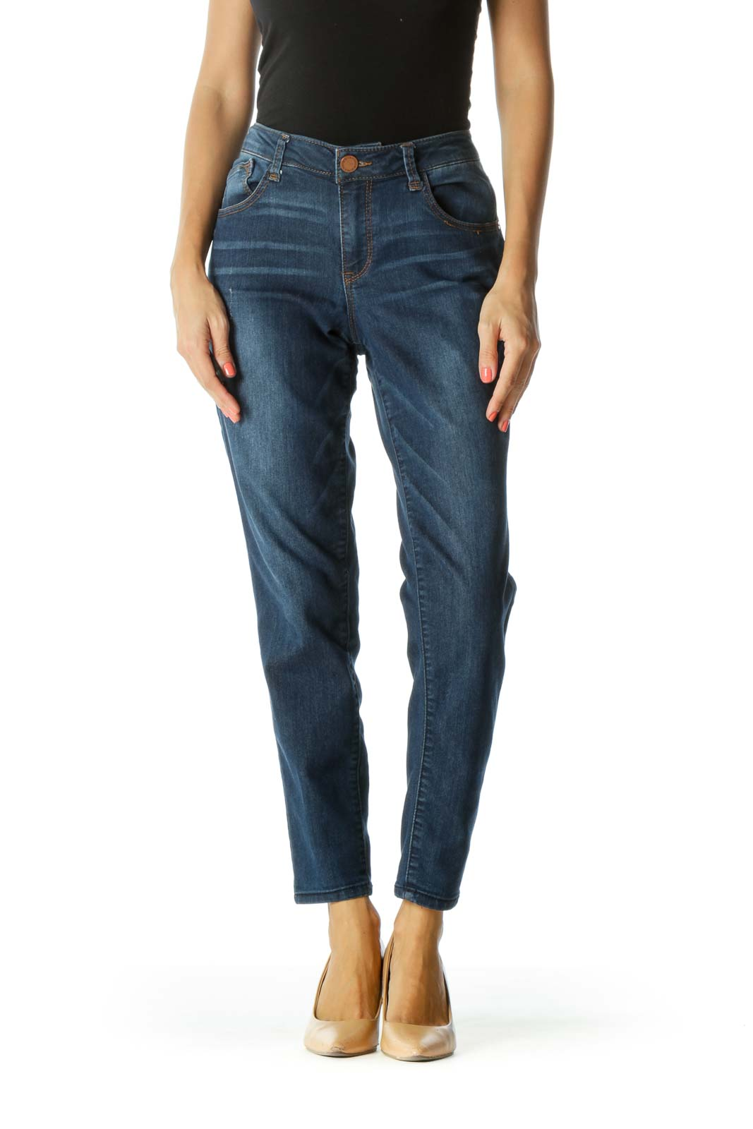 Blue Medium-Wash Distressed-Details Stretch Jeans